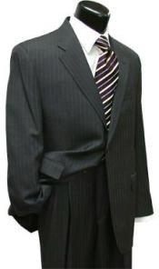 Mens Pinstripe ~ Stripe Two 2 Button Super Wool Business ~ Wedding 2 piece Side Vented Suit