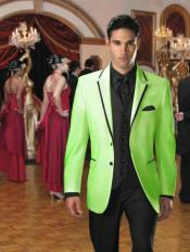 Two Button Stage Party Tuxedo Velvet Velour Sport Coat & Blazer with Black Edge Trim lime mint