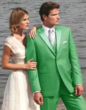 Stunning lime mint Green ~ Apple ~ Neon Bright Green Two Button Tuxedo 7 days delivery