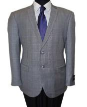 Wool 2 Button Windowpane Notch Lapel Grey Slim Fit Sport Coat Blazer