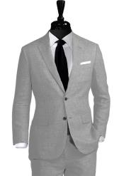 Nardoni Linen 2 Button Light Grey ~ Gray Vested 3 Pieces Summer Linen Wedding/Groom/Groomsmen Suit Jacket &