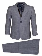 Notch Lapel Kids Sizes 2 Button Grey Linen Suit And Pant