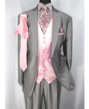 Mens 2 Button Tuxedo Two Toned Notch Lapel Grey/Pink Single Breasted Trimmed Satin Vest Suit