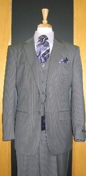 Two Button Grey Pinstripe Flat Front three piece suit