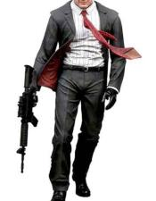 Agent 47 Hitman Costume 2 Button Grey Notch Lapel Single Breasted