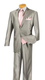 Mens 2 Button Tuxedo Two Toned 5 Piece Suit with Tie and