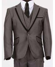 Grey Mens Two Toned Trimmed Kids Sizes Notch Lapel Vested Tuxedo Sharkskin Looking