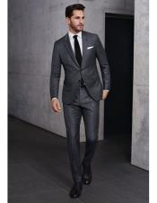 Grey 2 button notch lapel side vented slim fit suit