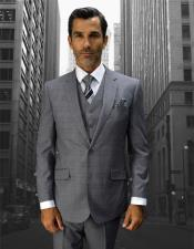 Mens Grey Double Breasted Vest Fine Style Cut Suits