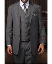 Confidence 2 Button 3 Piece Vested Designer Charcoal Grey Fine Brands