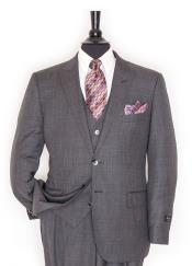 Grey 2 Button Single Breasted 150s Wool Peak Lapel Vested Suit