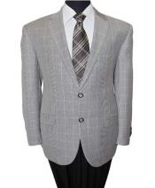 2 Button Grey Wool Notch Lapel Windowpane Single Breasted Sport Coat Blazer