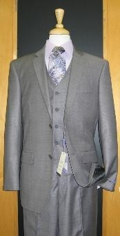 Button Grey Sharkskin Wool Blend Flat Front three piece suit