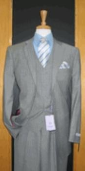 Two Button Grey Pinstripe Wool and Cashmere Flat Front three piece suit