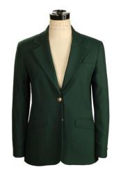 Womens Belle Forest ~ Hunter Green 2 Button Wrinkle Resistant No Vent Blazer
