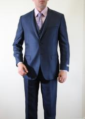 Slate Indigo ~ Bright Blue Pinstripe Italian Slim Fitted Herringbone Tweed Two