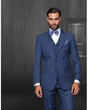 Statement Confidence Mens Indigo ~ Bright Blue 2 Button Modern Fit Wool