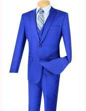 Mens Three Piece Indigo ~ Bright Blue Blue  Slim Fit 2
