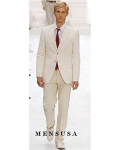 Quality Two Button Style Ivory/Cream Business ~ Wedding 2 piece Side Vented Suits For Men Cool Lightest