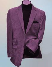 Wool Blend Side Vents Notch Lapel 2 Button Lavender Corduroy Blazer