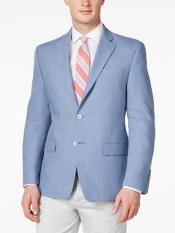 Mens Solid 2 Button Linen Light Blue Classic Fit Sport Coat Blazer