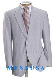 Summer 2 Piece Suits For Men 2 Button Jacket White and Sky