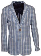 Boys Single Breasted Notch Lapel Plaid Designed Linen Blazer Light Gray