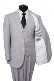 Two Button Three Piece Vested Suit Pinstripe Slim Fitted Light Grey Silver Mini Stripe ~ Pinstripe (