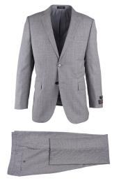 Novello Light Gray 2 Button Notch Lapel Birdseye Modern Fit Luxe