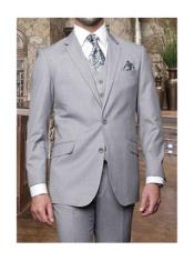 Confidence Mens Light Grey 3 Piece 2 Button Italian Designer Suit