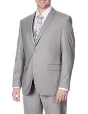 Mens Slim Fit 2 Button Notch Lapel Light Grey Vested Suit