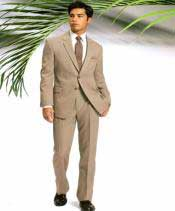 Two Button Slim Cut Fitted Light Tan ~ Beige Cheap Priced