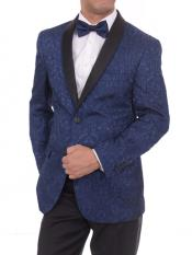 Navy Blue 2 Button Satin Shawl Lapel Floral Slim Fit Blazer