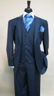 Two Button Single Breasted Suit With Matching Vest Dark Navy Grey