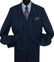 Peak Lapel Navy Blue Single Breasted Striped 2 Button Vested Suit