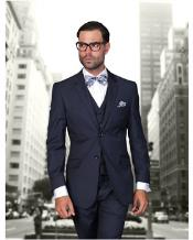 Statement Confidence Mens Dark Navy Blue Suit For Men 2 Button Modern