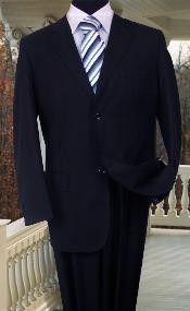 SOLID COLOR NAVY BLUE SUIT BY Signature Platinum Stays Cool Discounted