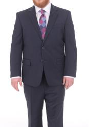 Mix and Match Suits Mens Textured Portly Fit Dark Navy Blue Suit