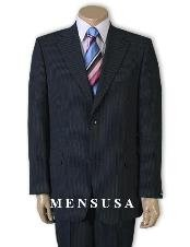 2 Button Dark Navy Blue Suit For Men Pinstripe Super 120s