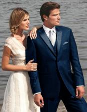 Navy ~ Midnight blue Two Button Fashion Tuxedo For Men