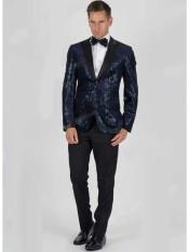Mens Velvet Snake Skin Slim Fit 2 Button Navy Jacket With Matching
