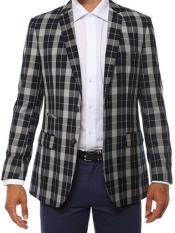 Ferrecci Mens Plaid Slim Fit Dark Navy Blazer Dinner Jacket