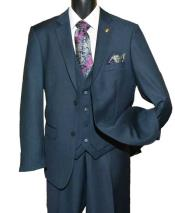 Navy Two Button Single Breasted Notch Lapel Vested Suit