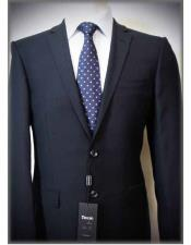 Italian Authentic Tiglio Brand Dark Navy Solid Notch Lapel Two Button Slim Fit 100% Wool Suit