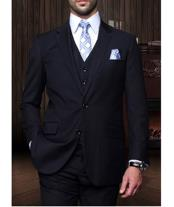 Confidence  Mens Navy 3 Piece 2 Button Italian Designer Suit
