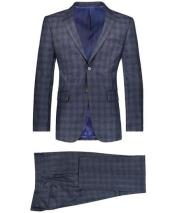 Mens Navy 2 Button Suit Window Pane Blazer