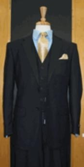 Button Dark Navy Flat Front three piece suit