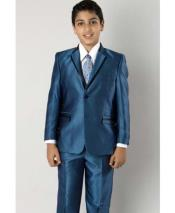 Two Toned Trimmed Lapel Kids Sizes Tuxedo Sharkskin Looking Dark Navy