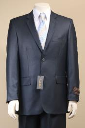 Button Suit New Edition Shiny Flashy Sharkskin Dark Navy Blue Suit