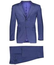 Slim Fit 2 Button Dark Navy Suit Window Pane ~ Plaid